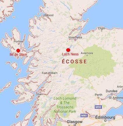 Carte du nord de l'Ecosse