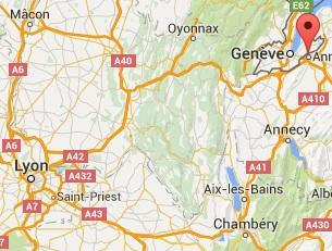 Carte représentant Annemasse et Lyon