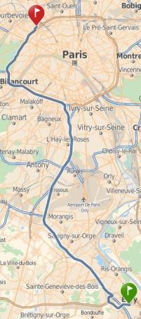 Parcours entre Evry et Levallois-Perret