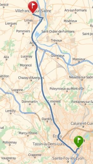 Carte représentant Lyon et Villefranche